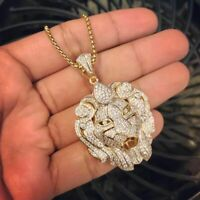 Men's Solid 10K Real Yellow Gold Lion Face Round Cut Diamond Charm Pendant 2 Ct