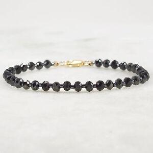 Black Spinel Bracelet 14k Gold Filled Genuine Gemstone Bead Stacking