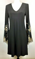 Roz & Ali Black Fit & Flare Evening Dress 3/4 Bell Sleeves Gold Sequined Size S