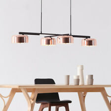 Modern 4 Rose Gold Metal Round Shade Rotating Black Ceiling Pendant Lamp Fixture