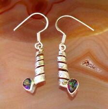 Pendiente Espiral Arco Iris Topacio Plata Esterlina 925 Piedra de noviembre
