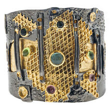 Polemis 501 ~ Black Rhodium & Gold Plated Silver Large Cuff Bracelet with Stones