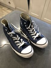 Converse All Star Leather High Top Trainers Uk 7 In Blue