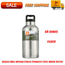 64 Oz Double Wall Vacuum Sealed Stainless Steel Water Bottle, Drinkware, Silver
