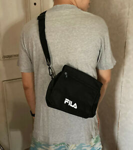 NEW FILA LOGO BLACK FLAP Cross-Body Shoulder Bag from Japan Magazine