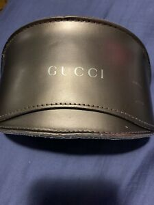 Gucci Sunglasses Case Moon Brown Gold GG Monograph Lined *Scuffed See Pics*