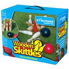 GARDEN WOODEN SKITTLE GAME 9 SKITTLES 2 BALLS FAMILY FUN SUMMER PARTY OUTDOOR