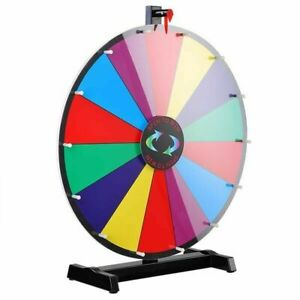 """24"""" Prize Wheel Multi Color Tabletop Spinning Dry Erase Fortune Carnival Game AU"""