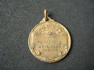 Italy, Torino, Women Table Tennis Championships, 1950, vintage medal