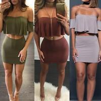 Sexy Women Off-shoulder Crop Top & Mini Dress Bodycon Party Skirt Set Two-piece