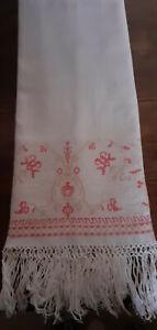 Linge ancien - Belle serviette de toilette 1900 - jacquard - rose - franges