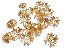 6015FN BULK, Bead Cap, Gold ptd Brass, Leaf, 10mm, for 8-10mm bead, 1000 Qty