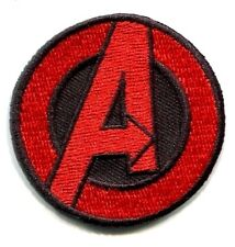"AVENGERS Small Red A 1.5"" EMBROIDERED IRON-ON PATCH marvel hulk captain america"