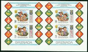 Grenada 1971 Scout Jamboree SS uncut PROOF PAIR