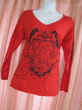 7 seven Ladies womens Sexy RED studded Biker look shirt top Plus size 3X 22 24