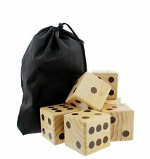 Get Out! Giant Yard Dice Set, 6 Wooden Dice in Drawstring Carry Bag for Outdoor