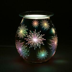 Pretty Light Up Electric Freestanding Glass Oil Burner With / Without Wax Melts