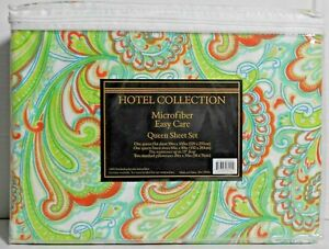 Home Collection 4 Piece Paisley Microfiber Easy Care Bed Sheet Set NWT