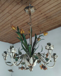Beautiful Chandelier Iron Painted 1950
