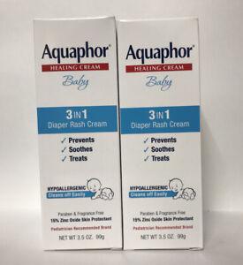 (2) Aquaphor Healing Cream Baby Hypoallergenic 3 In 1 Diaper Rash Cream-3.5.oz.