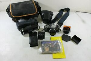 Vintage Olympus OM-10 35mm SLR Film Camera Kit w/ 50mm & 100-200 Lenses ++++++++