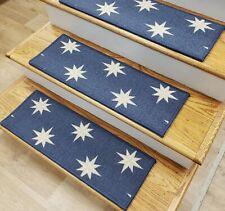 "Blue Stars Stair Tread Set of 13 Non Slip Carpet Treads 27"" x 9"" Rug Depot"