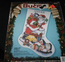 New Bucilla Christmas Stocking Cross Stitch Kit Down the Chimney Holiday  -EEEE