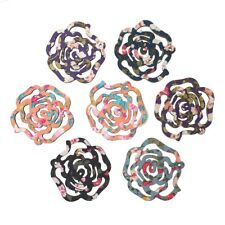 "Sexy Sparkles 5 Pcs Rose Wood Charm Pendants Assorted Colors 51mm(2"")"