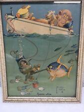 Vintage 1940's-50's Era Print Lawson Wood Monkey Fish Boat Fishing IGNORE HIM