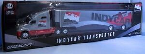 SILVER AND RED INDYCAR TRANSPORTER GREENLIGHT 1:64 SCALE DIECAST METAL MODEL