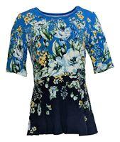 Isaac Mizrahi Live! Women's Top Sz S Engineered Floral Print Peplum Blue A352273