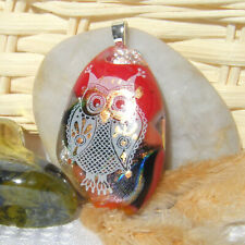 Handmade Dichroic Glass Pendant Necklace Red White Teardrop Gold Accent Owl