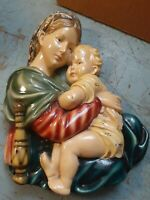 Vintage ROMAN ART Co Religious Holy Woman w/Baby Chalkware Robia Ware St Louis