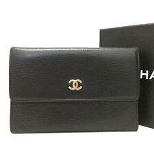 100% Authentic CHANEL CC Logo Black Leather Trifold Wallet /e385