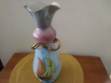 """Italian Luster Vase MCM with Gold Ribbon Design and Sailboat Motif 14"""" high"""