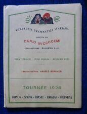 FOLDER PUBBL. COMPAGNIA DRAMMATICA NICCODEMI - TOURNEE 1926