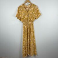 Malibu Womens Dress 16 Yellow Floral Short Sleeve V-Neck Elastic Waist Boho