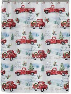 Winter Wonderland Holiday Red Farm Truck Christmas Shower Curtain / Hook Set