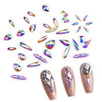 3D Nail Art Rhinestones FlatBack Drop AB Crystals Glitter Gems Tips Decoration