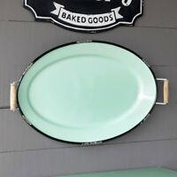 Enamel Oval Tray Side Handles Large Distressed Metal