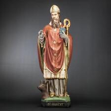 "24"" Saint Hubert Antique Plaster Statue Vintage St Hubertus Patron Hunters 2"