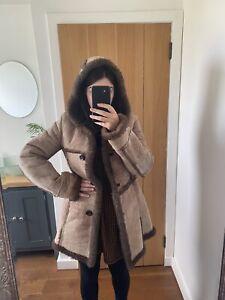 Ladies Oversized Brown Vintage Hooded Real Sheep Skin Shearling Coat 8-10