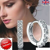 New Beautiful 925 Sterling Silver Small Round Crystal Hinged Huggie Hoop Earring