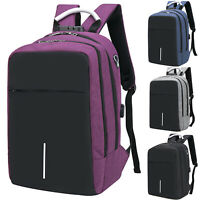 Anti-theft Mens With USB Charger Port Backpack Laptop Notebook School Travel Bag