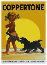 VINTAGE COPPERTONE SUN TAN LOTION ADVERTISING A4 POSTER PRINT