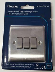 SCREWED RAISED EDGE TRIPLE  LIGHT SWITCH, 10AX 2 WAY BRUSHED STEEL