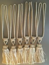 3 Pairs of Large Taupe Ribbon Tassle Tie backs Acrylic Feature