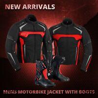 Waterproof Genuine Motorbike Motorcycle Cordura Jacket Leather Shoes Racing Boot