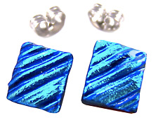 "DICHROIC Earrings BLUE Teal Turquoise Ripple Striped Textured Post 1/4"" 8mm STUD"