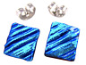 """DICHROIC Earrings BLUE Teal Turquoise Ripple Striped Textured Post 1/4"""" 8mm STUD"""